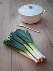 Fresh picked Leeks in Kitchen