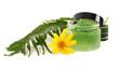 Cosmetics cream in the green jar