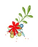 Lovely Green Mistletoe with A Red Bow
