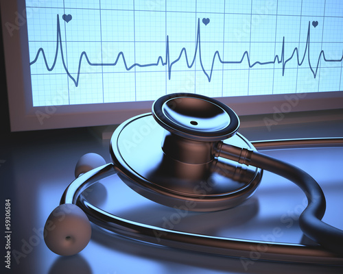 Heartbeat monitor. Clipping path included.