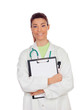 Young doctor woman smiling with clipboard