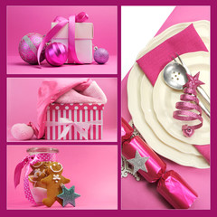 Pink Christmas theme collage of festive gifts