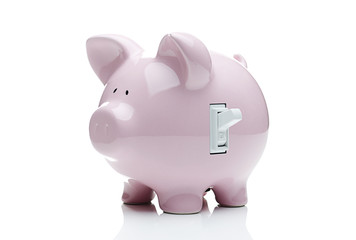 Piggy bank with a light switch