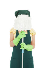 young woman holding the mop