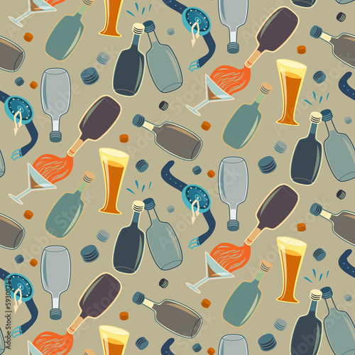 Cotton fabric Seamless alco party time vector pattern