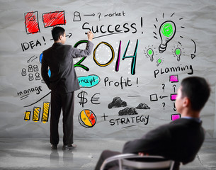 Business hand drawing business in year 2014