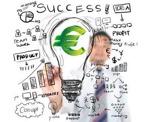 Business man drawing business finance