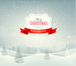 Holiday christmas background with winter landscape. Vector.