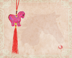 """chinese horse knot on paper background, word for """"horse"""", 2014 i"""