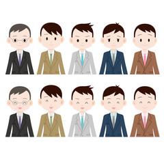 サラリーマン 5人 真顔と笑顔