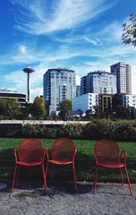 Red chairs in Seattle