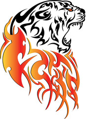 Tiger with fire tattoo stylish ornate illustration