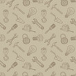 Tools drawing seamless background, vector