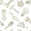 Tools drawing seamless pattern, vector