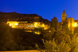 Summer night view of Albarracin with church