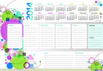 Week planner of 2014