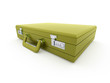 Green suitcase rendered isolated