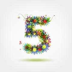 Five, floral number for your design