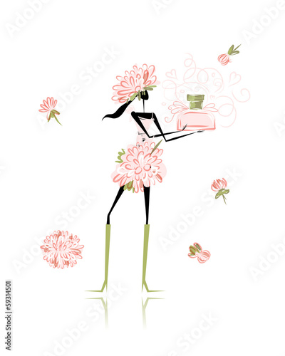 Floral girl with perfume bottle for your design