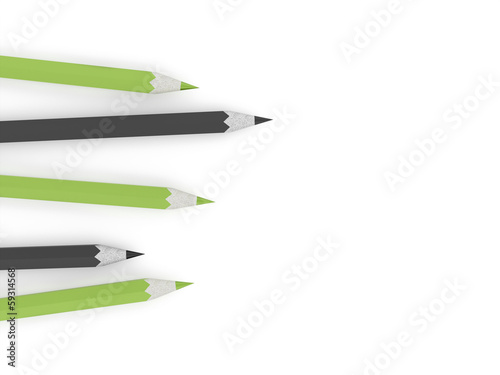 Green and black pencils concept on white