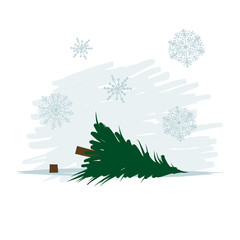 Felled tree in forest, vector illustration
