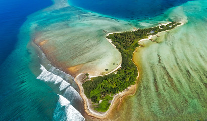 Isolated island in Maldives from above