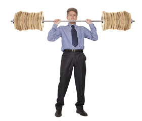 Businessman who raises money as weights