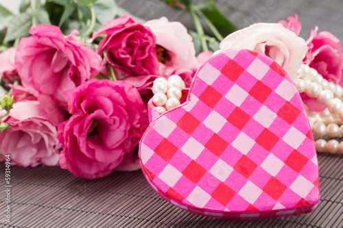 pink heart box fresh  flowers