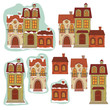 Retro houses. Vector illustration isolated on white background.