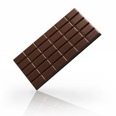 Schokoladentafel auf weißem Untergrund