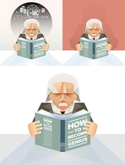 Old man reading a book - Vector Education Concept
