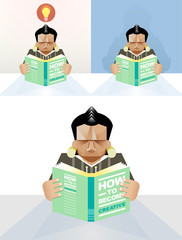 Man reading a book - concept vector