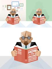 Businessman reading a book - concept vector