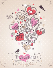 pink background with valentine heart and spring flowers,  vector