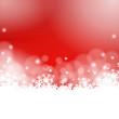 red winter background - snowflakes and lights