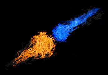 balls of blue and orange fire isolated on black