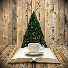 Drink coffee and read bible in Christmas day