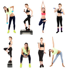 Young woman exercising collage isolated on white