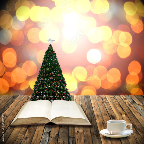 Read bible with coffee cup in christmas day