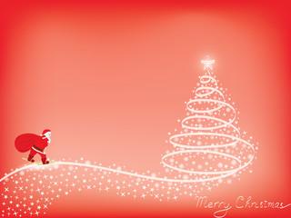 Merry Christmas background with Santa skiing to Xmas tree