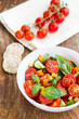 Tomato salad with cucumber and croutons