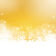 golden winter background - snowflakes and lights