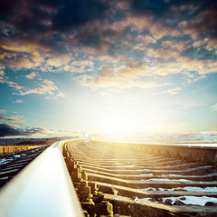 railroad close up to sunset