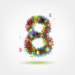 Eight, floral number for your design