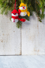 snowmen board wooden Christmas winter plush duo