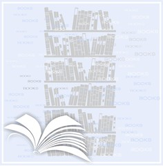 Background with open book and bookcase