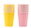 Two yellow and pink stacks of paper cups.