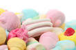 Different marshmallow candies.