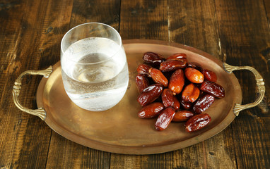 Conceptual photo of Ramadan food:dates and water