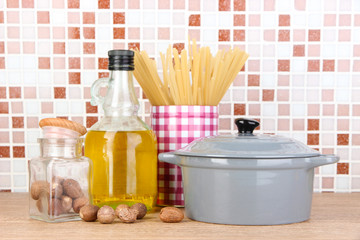 Products for cooking in kitchen